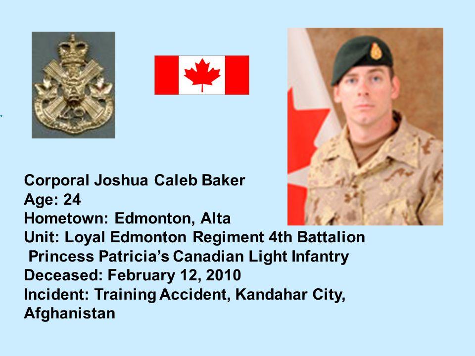 Corporal Joshua Caleb Baker