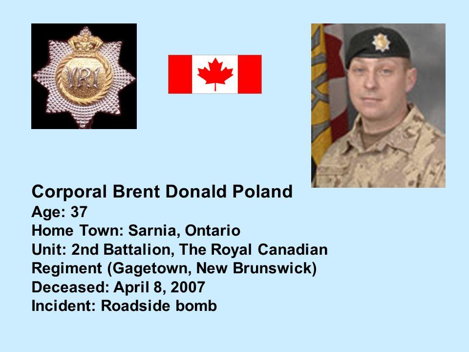 Corporal Brent Donald Poland