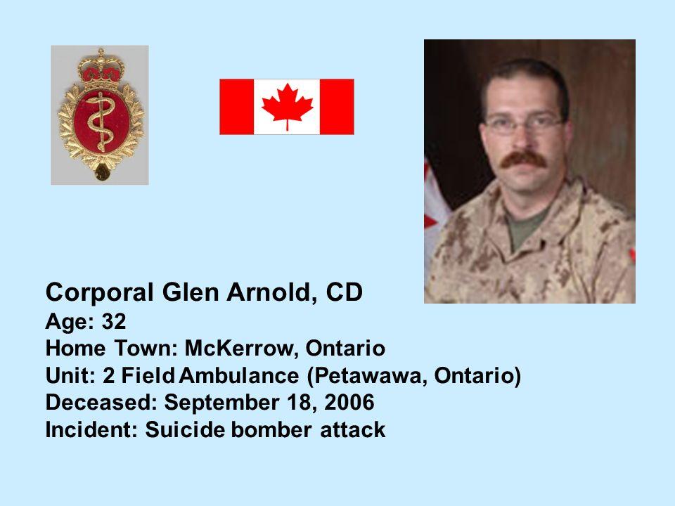 Corporal Glen Arnold, CD