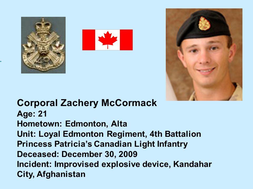 Corporal Zachery McCormack