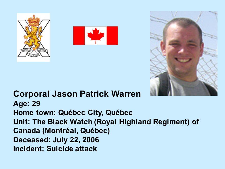 Corporal Jason Patrick Warren
