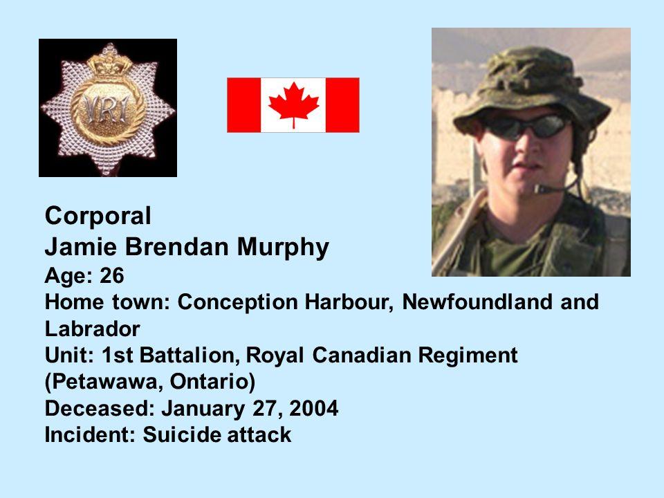 Corporal Jamie Brendan Murphy Age: 26