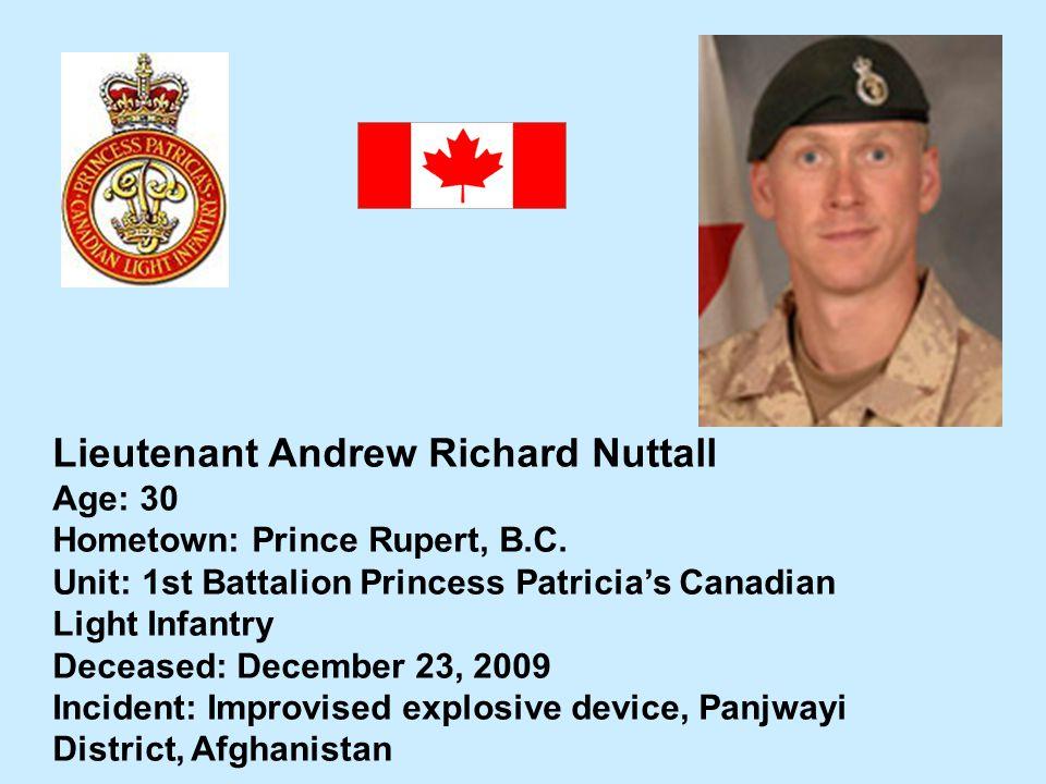 Lieutenant Andrew Richard Nuttall