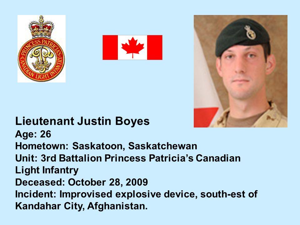 Lieutenant Justin Boyes