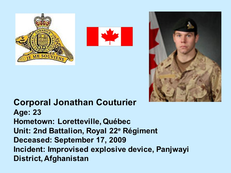 Corporal Jonathan Couturier
