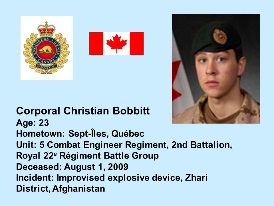 Corporal Christian Bobbitt