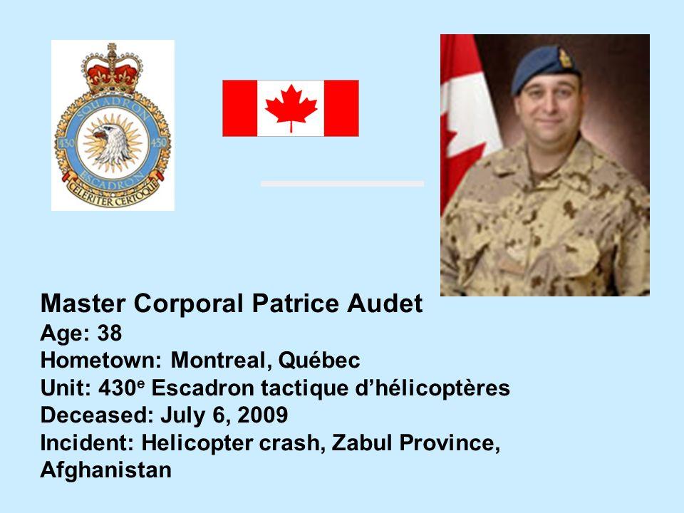 Master Corporal Patrice Audet
