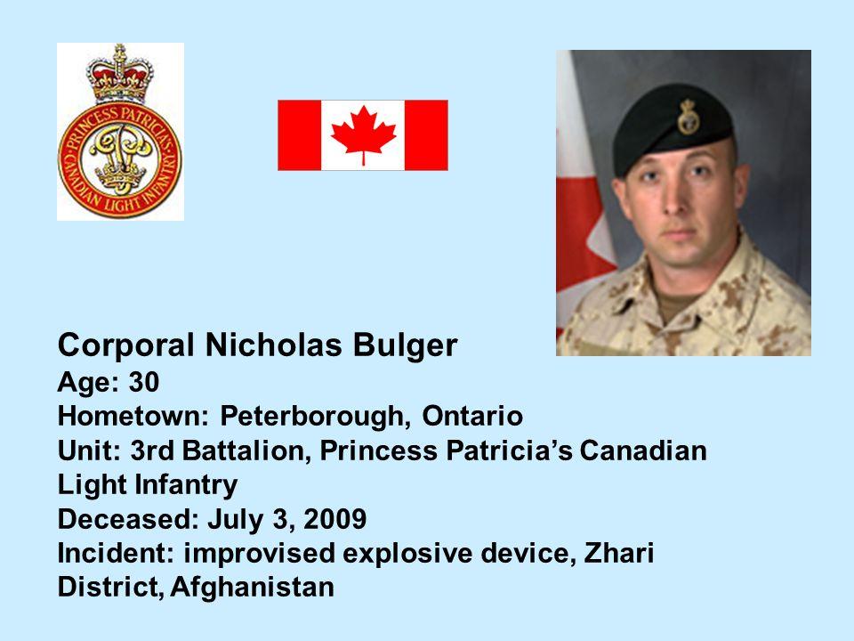 Corporal Nicholas Bulger