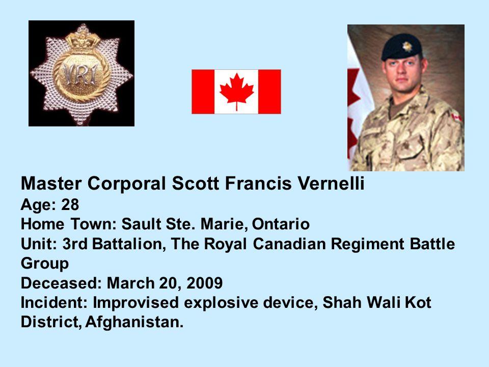 Master Corporal Scott Francis Vernelli