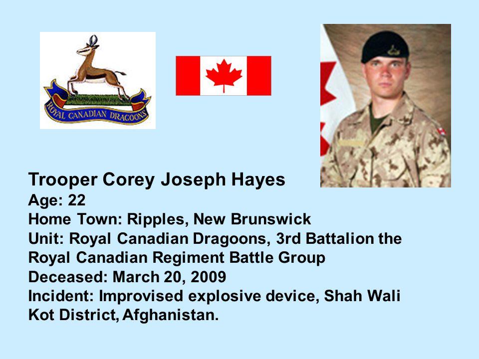 Trooper Corey Joseph Hayes