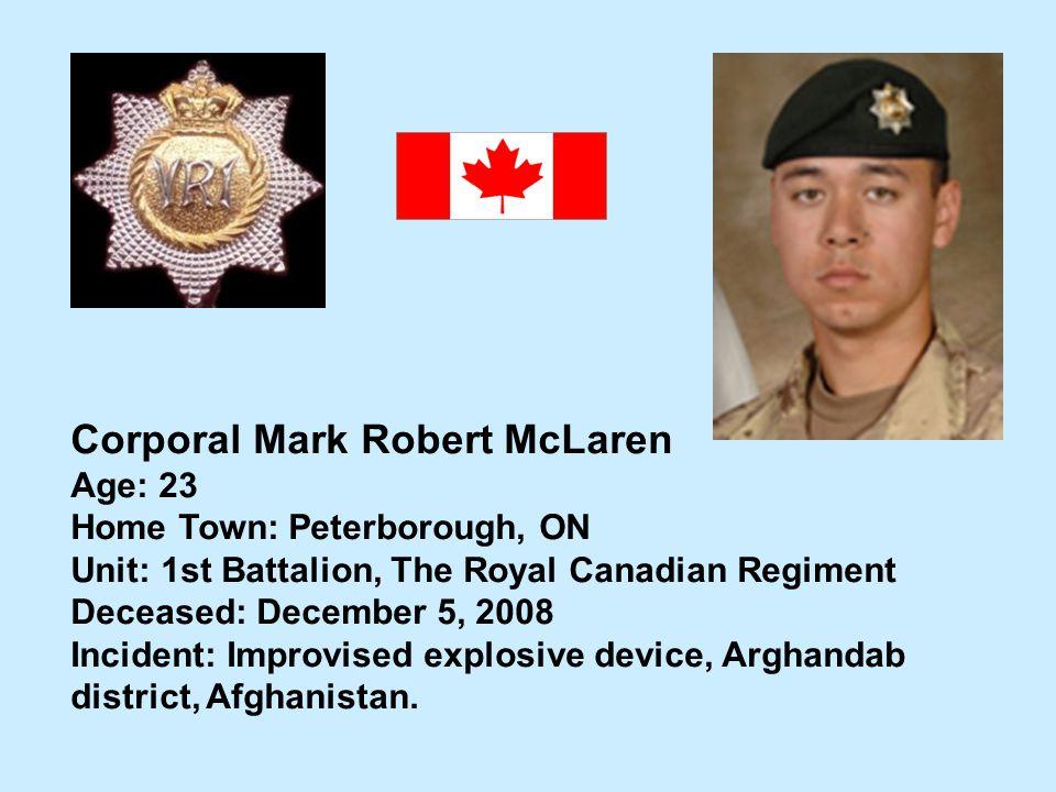 Corporal Mark Robert McLaren
