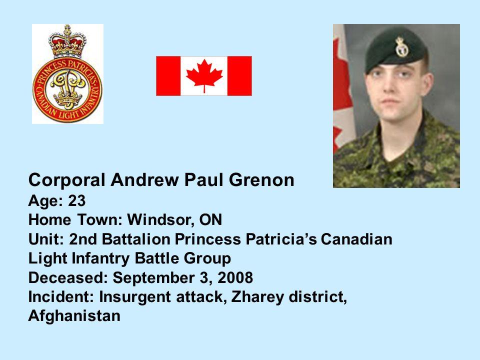 Corporal Andrew Paul Grenon