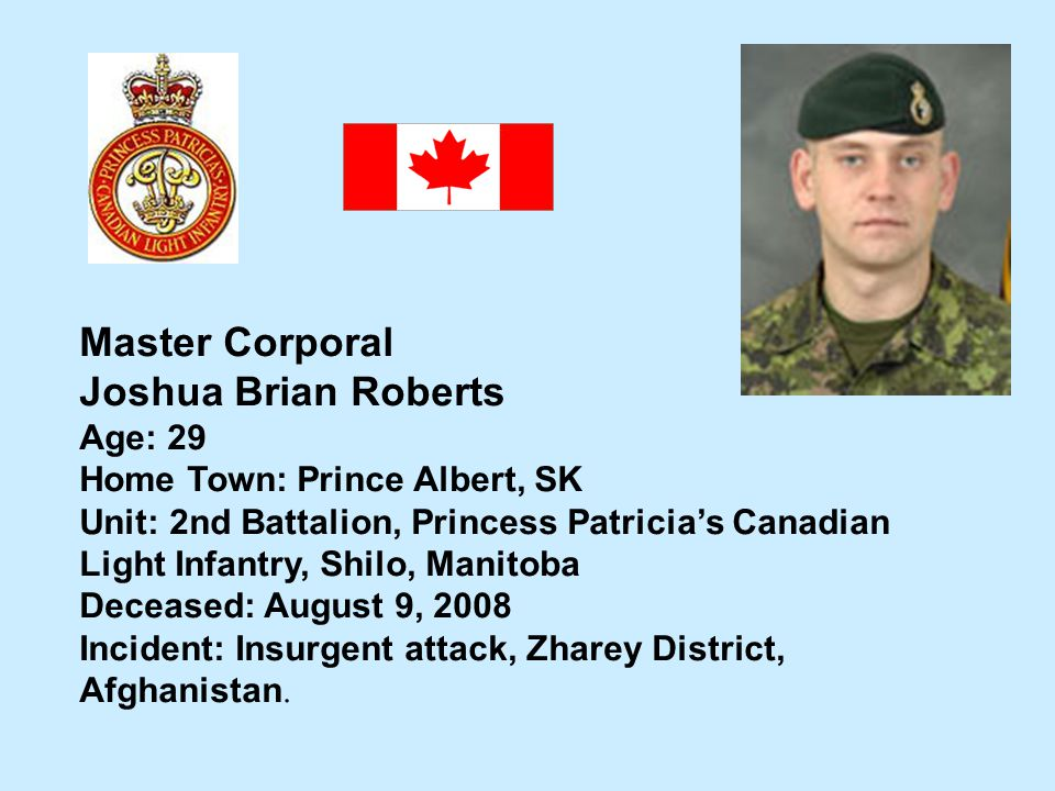 Master Corporal Joshua Brian Roberts Age: 29