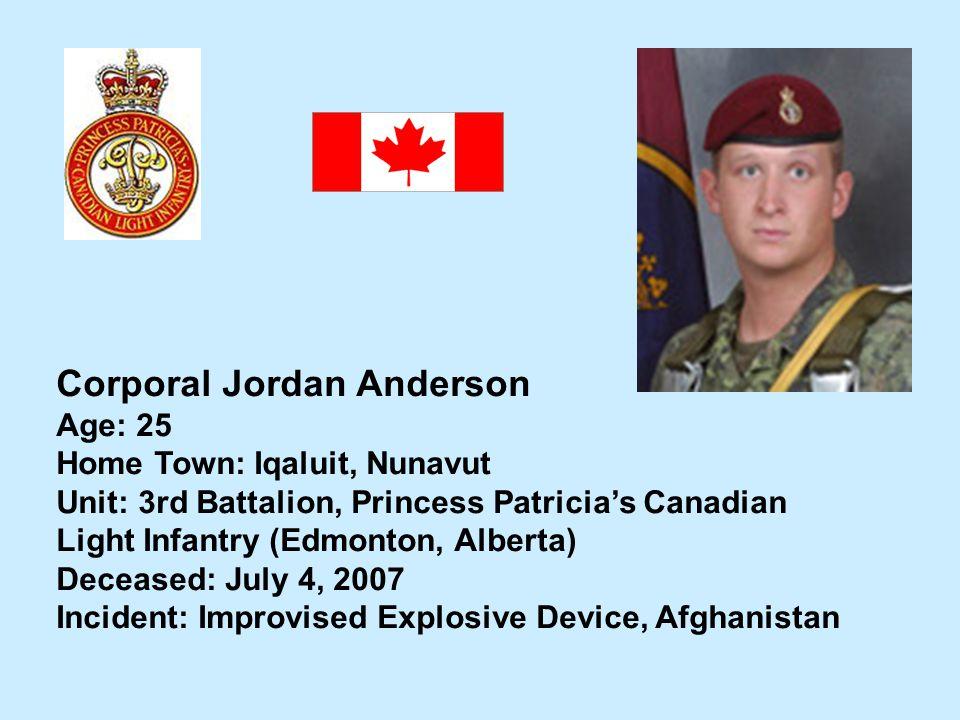 Corporal Jordan Anderson