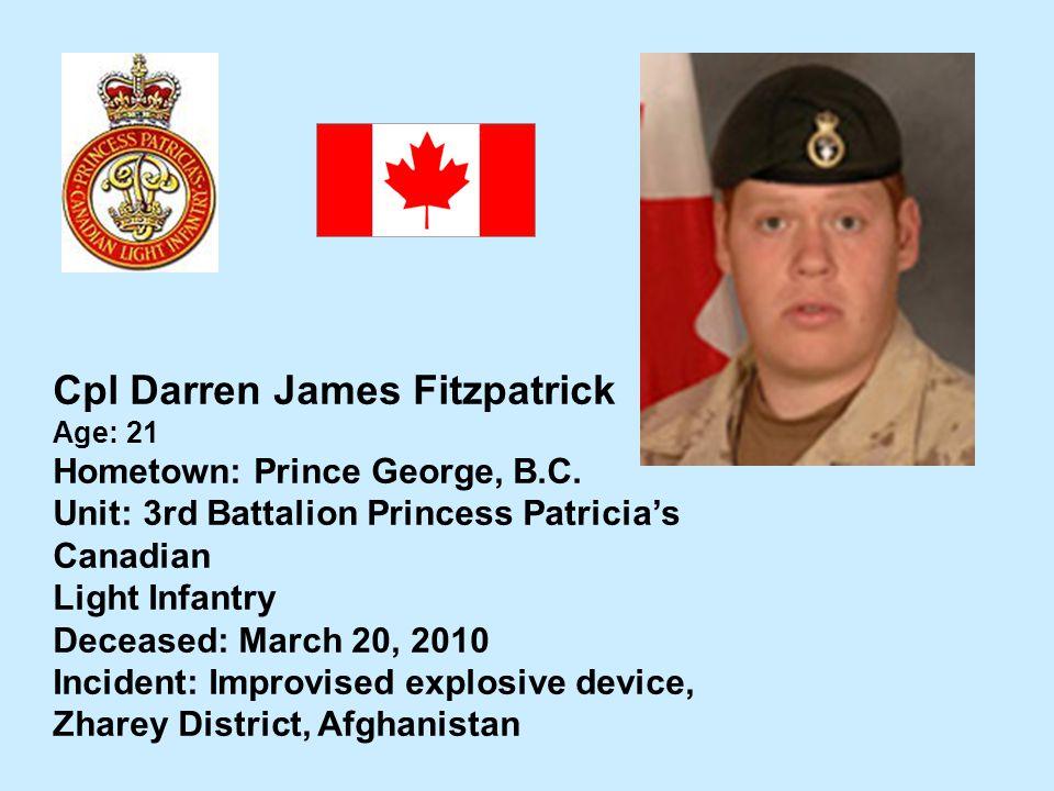 Cpl Darren James Fitzpatrick