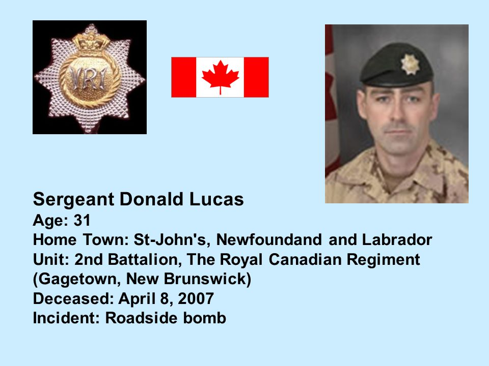 Sergeant Donald Lucas Age: 31