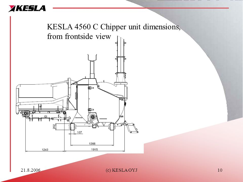 KESLA 4560 C Chipper unit dimensions, from frontside view