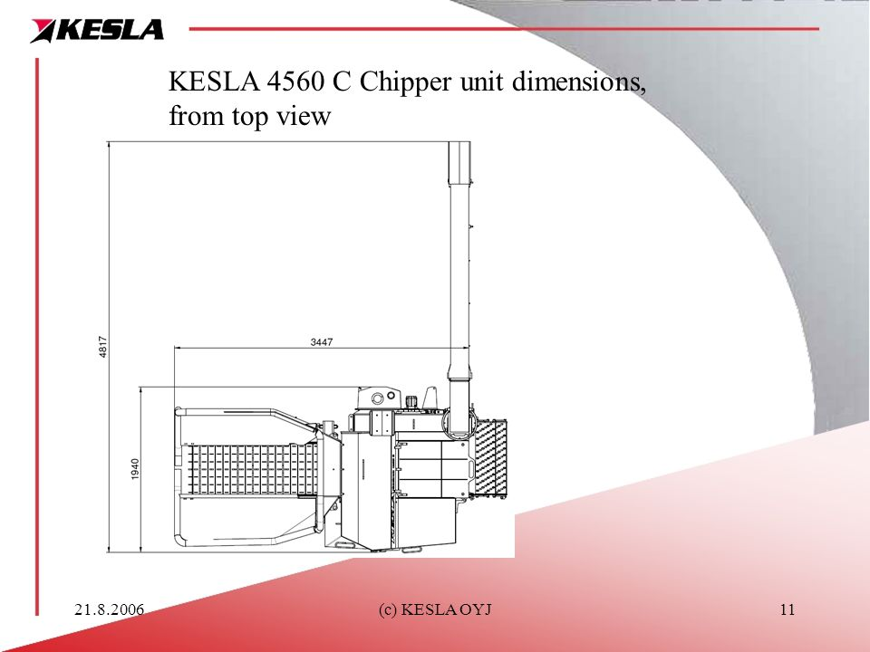 KESLA 4560 C Chipper unit dimensions, from top view