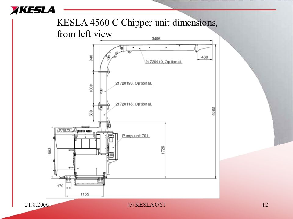 KESLA 4560 C Chipper unit dimensions, from left view