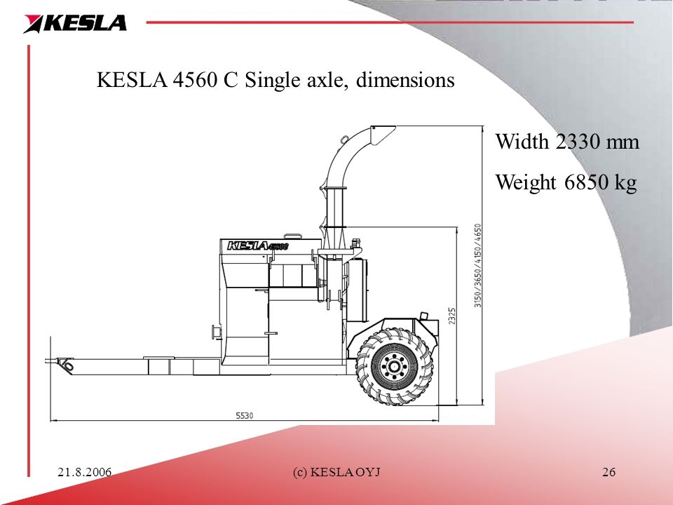 KESLA 4560 C Single axle, dimensions