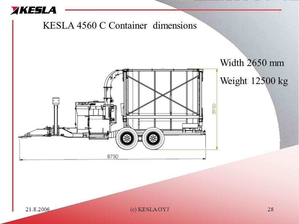 KESLA 4560 C Container dimensions
