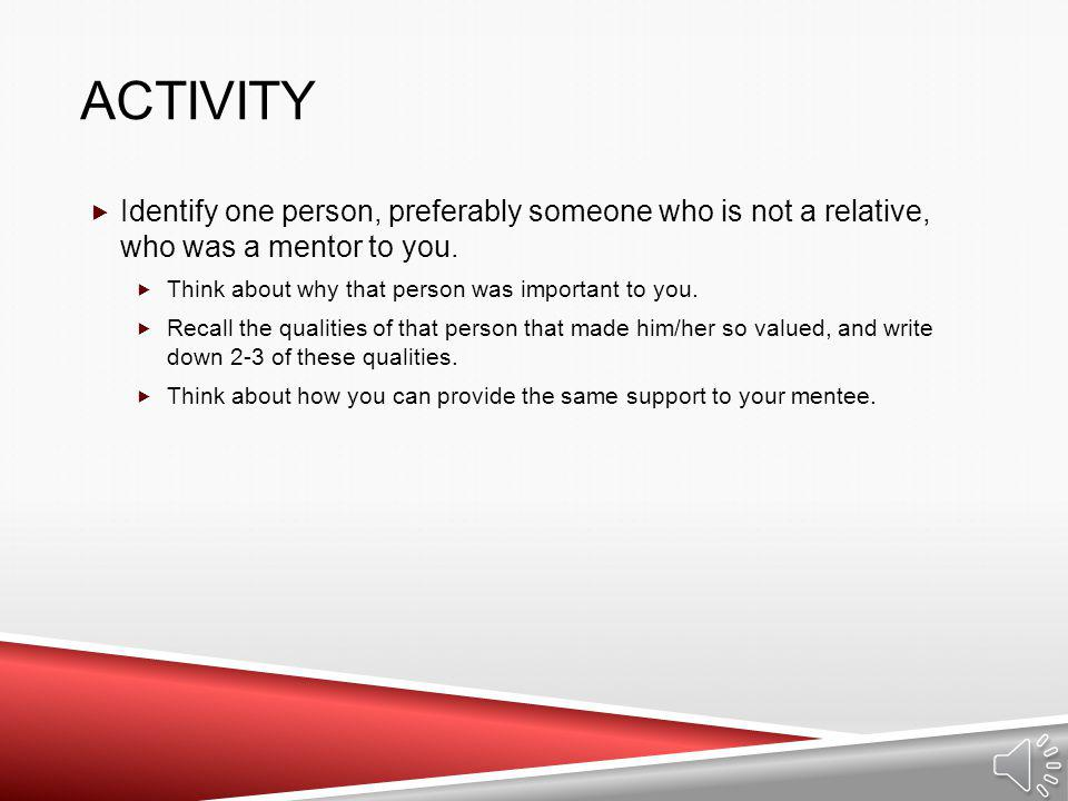 Activity Identify one person, preferably someone who is not a relative, who was a mentor to you. Think about why that person was important to you.