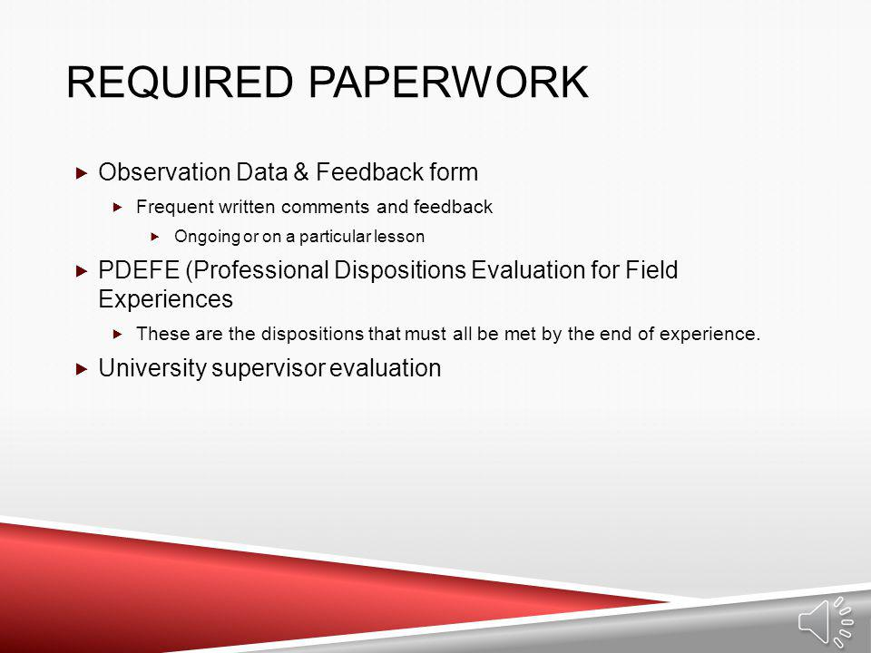 Required Paperwork Observation Data & Feedback form