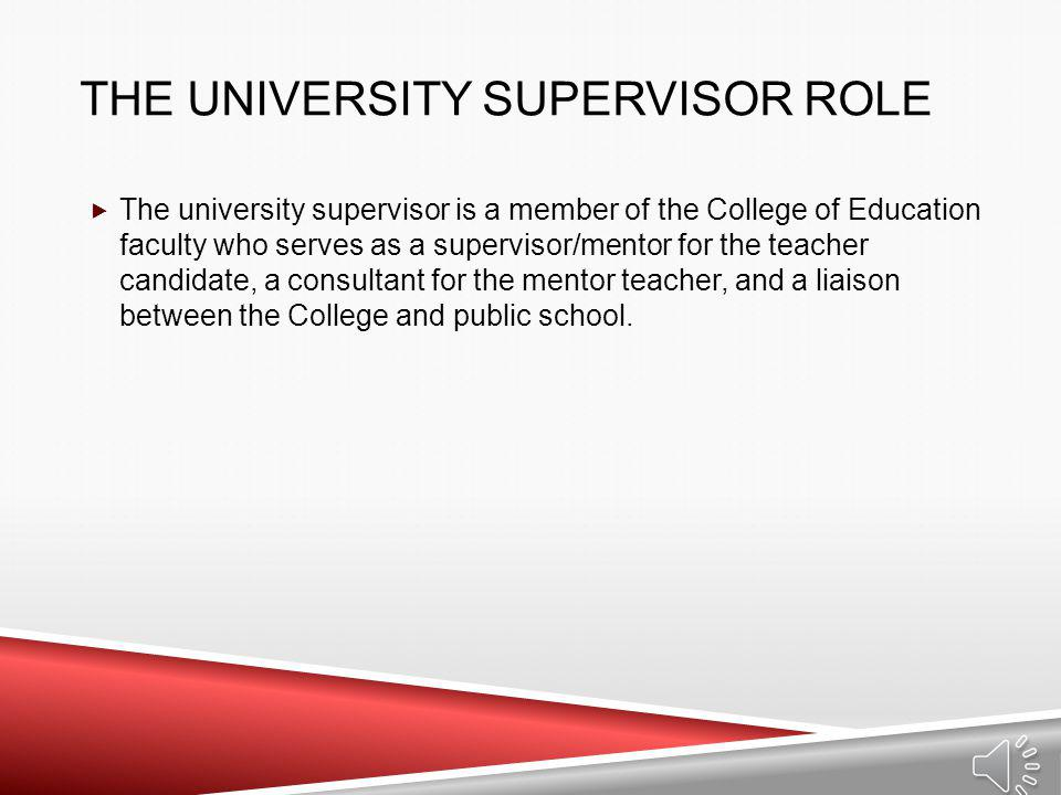 The University Supervisor Role