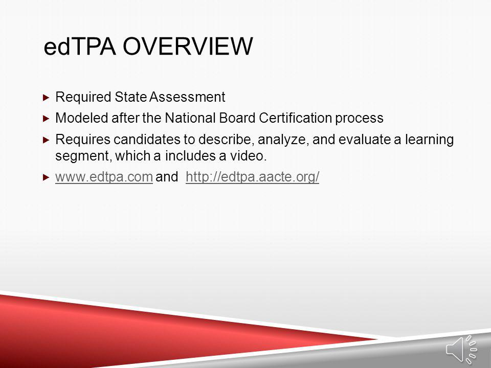 edTPA overview Required State Assessment