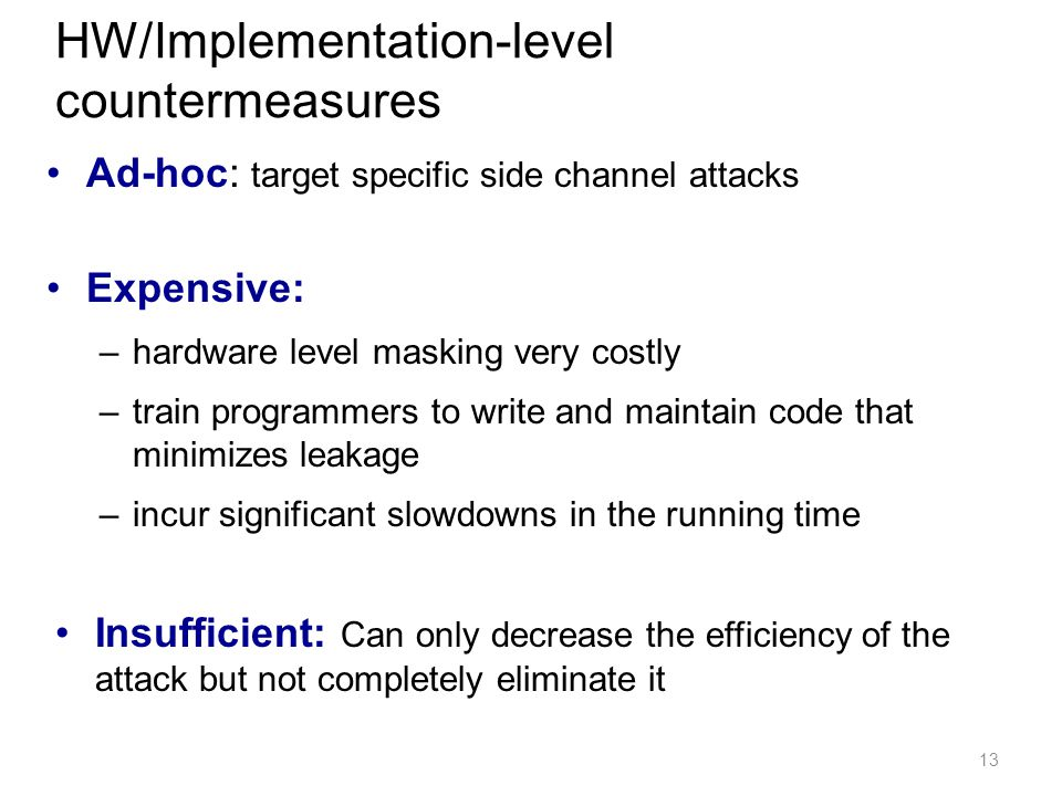 HW/Implementation-level countermeasures