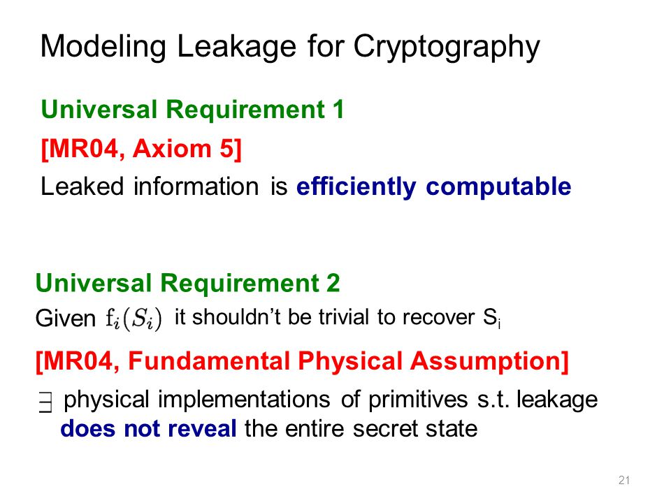 Modeling Leakage for Cryptography