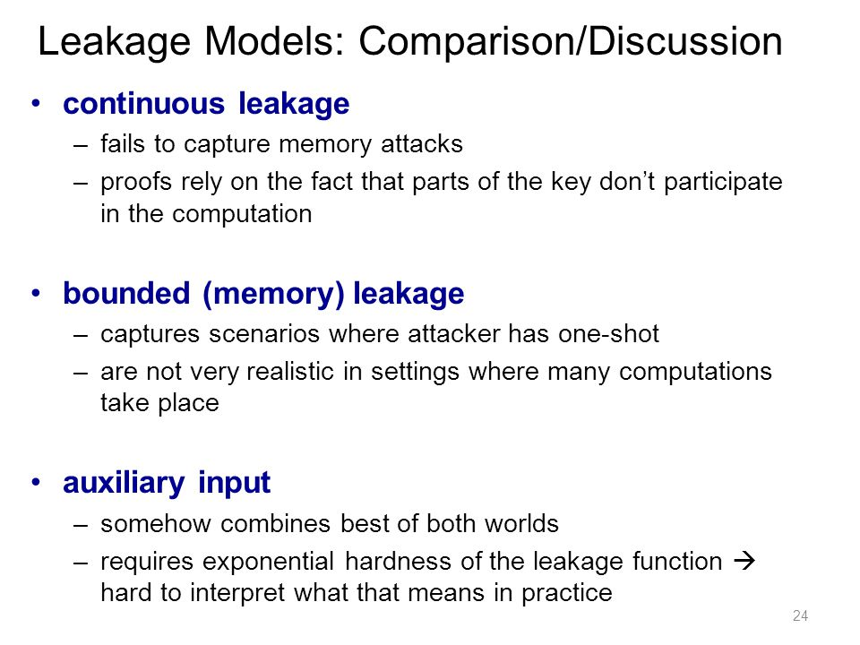 Leakage Models: Comparison/Discussion