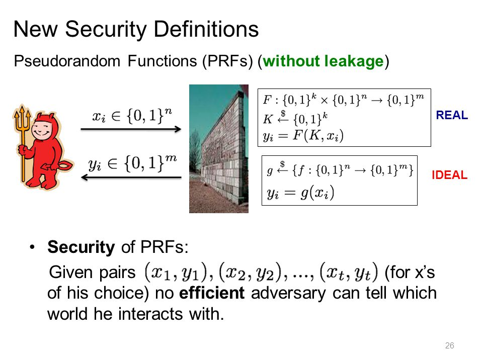 New Security Definitions