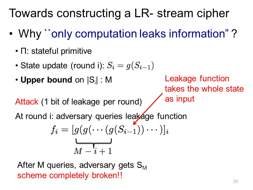 Towards constructing a LR- stream cipher