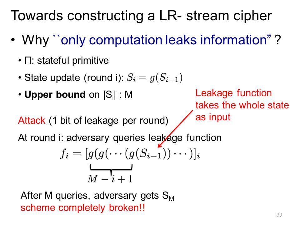 Towards constructing a LR- stream cipher