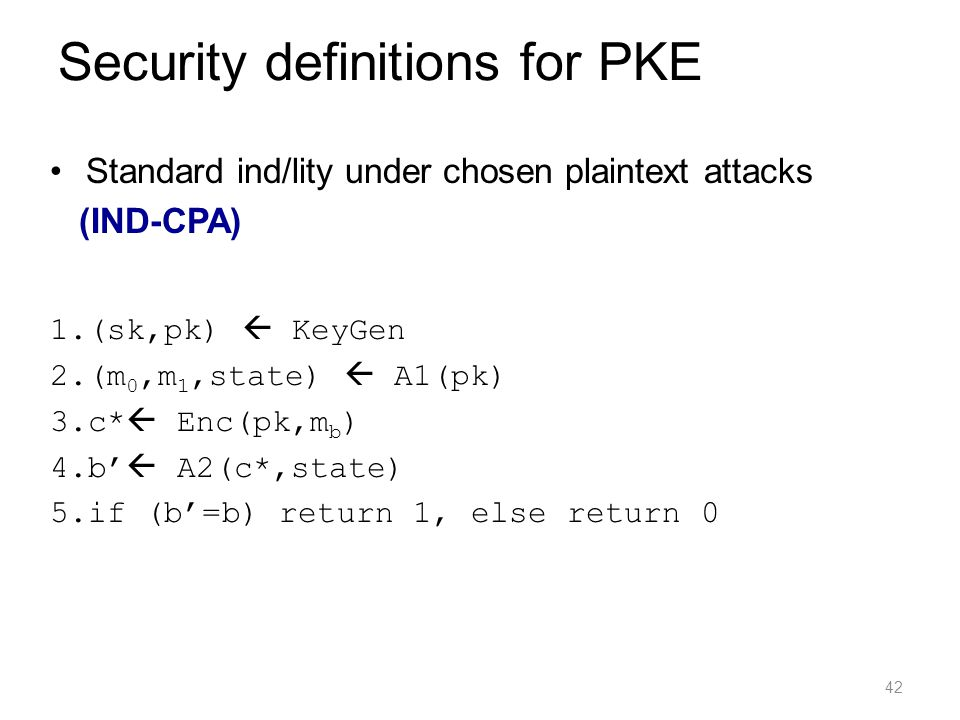 Security definitions for PKE