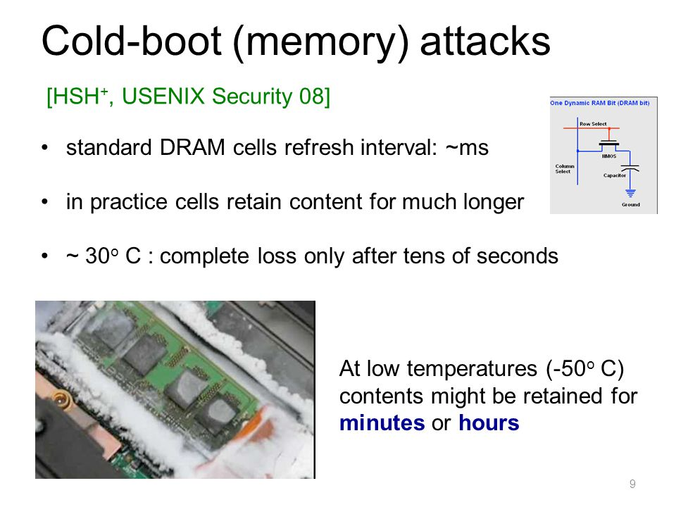 Cold-boot (memory) attacks