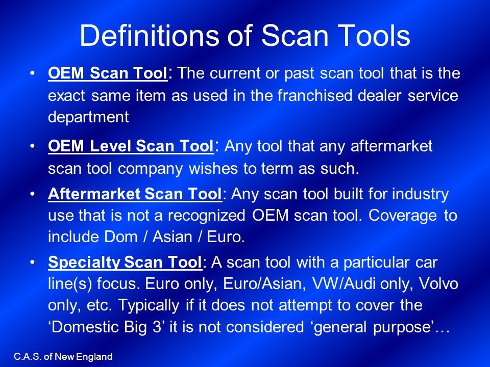 Definitions of Scan Tools