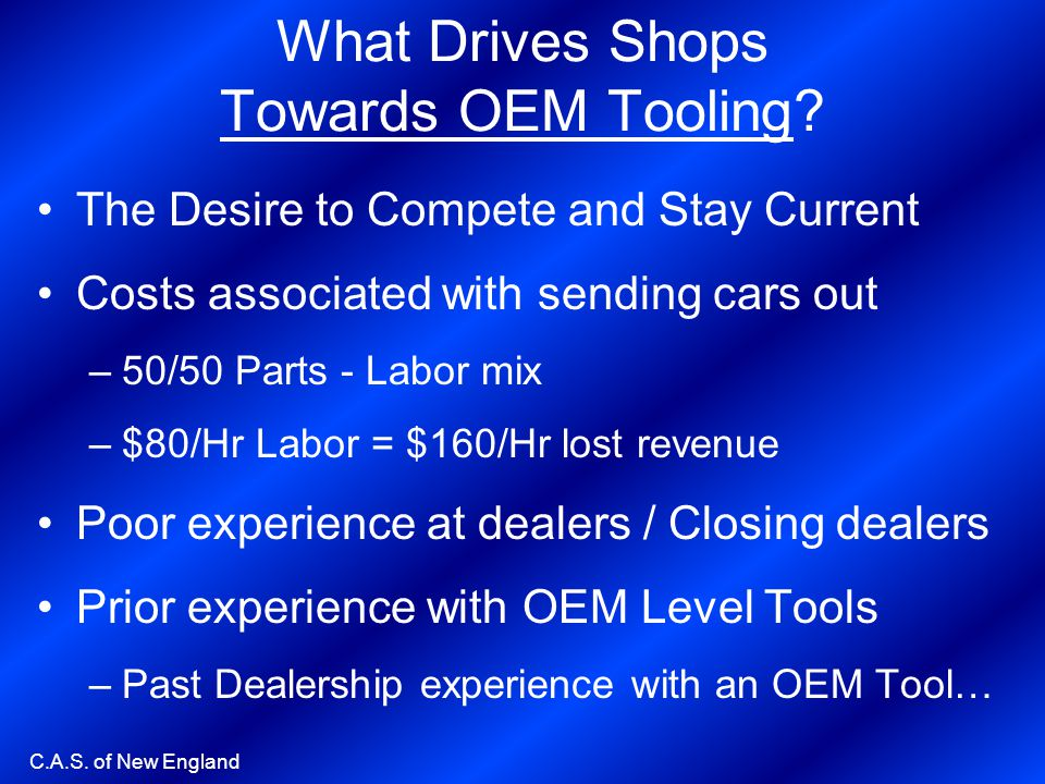 What Drives Shops Towards OEM Tooling