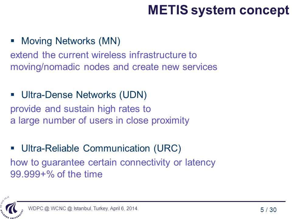 METIS system concept Moving Networks (MN)