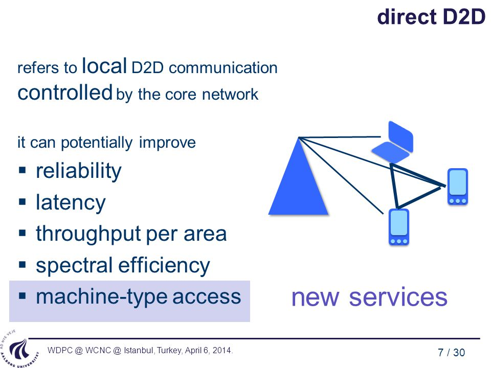 new services direct D2D reliability latency throughput per area