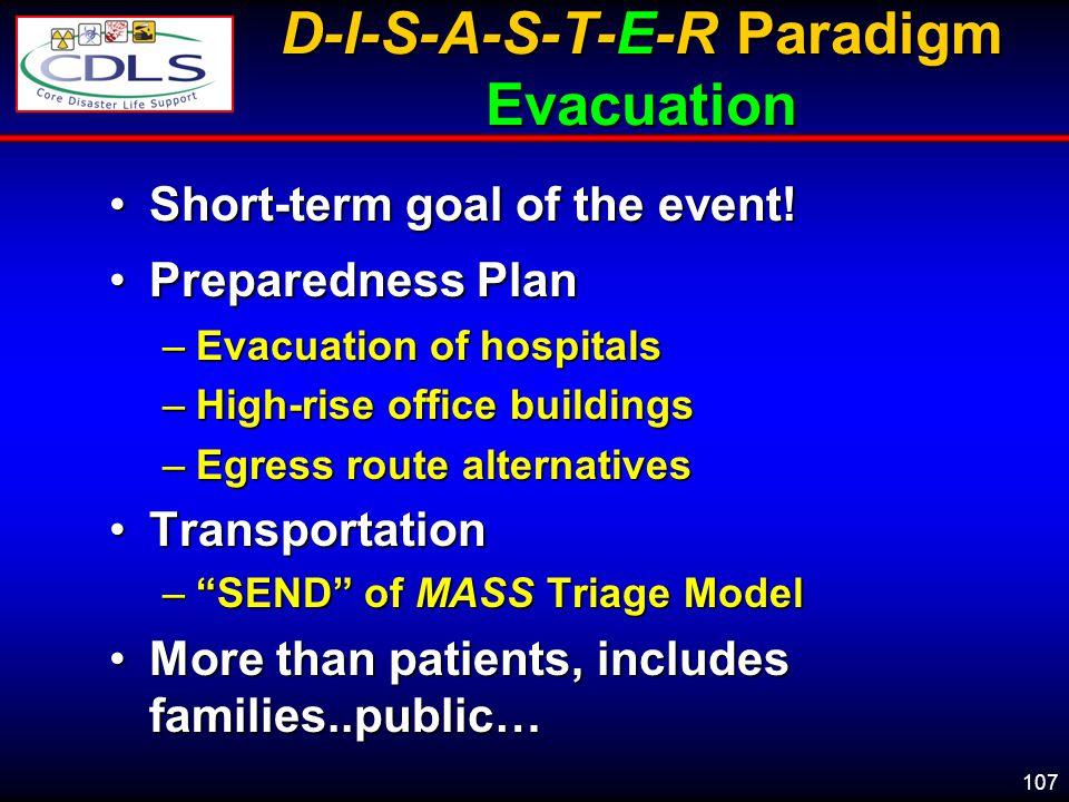 D-I-S-A-S-T-E-R Paradigm Evacuation