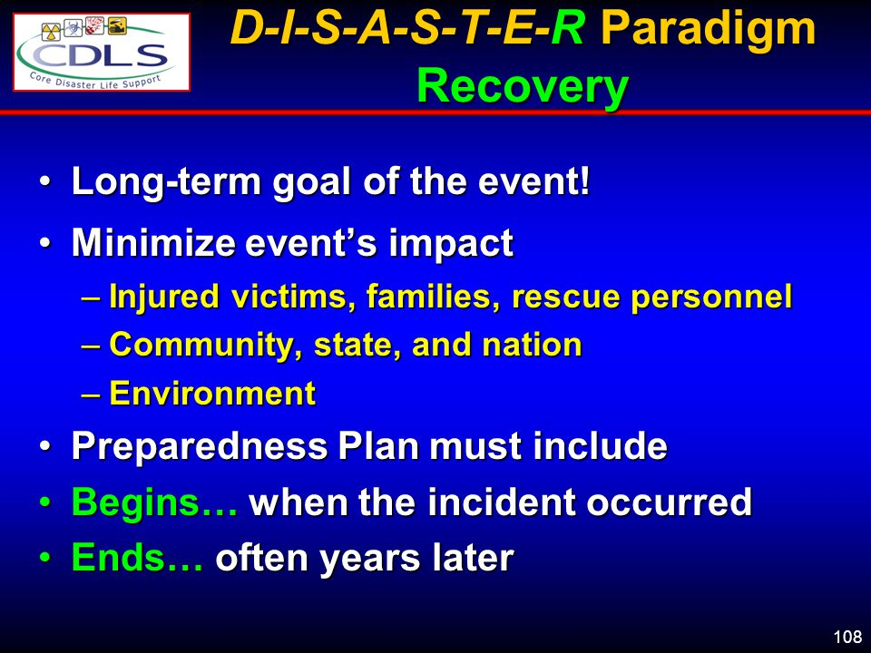 D-I-S-A-S-T-E-R Paradigm Recovery