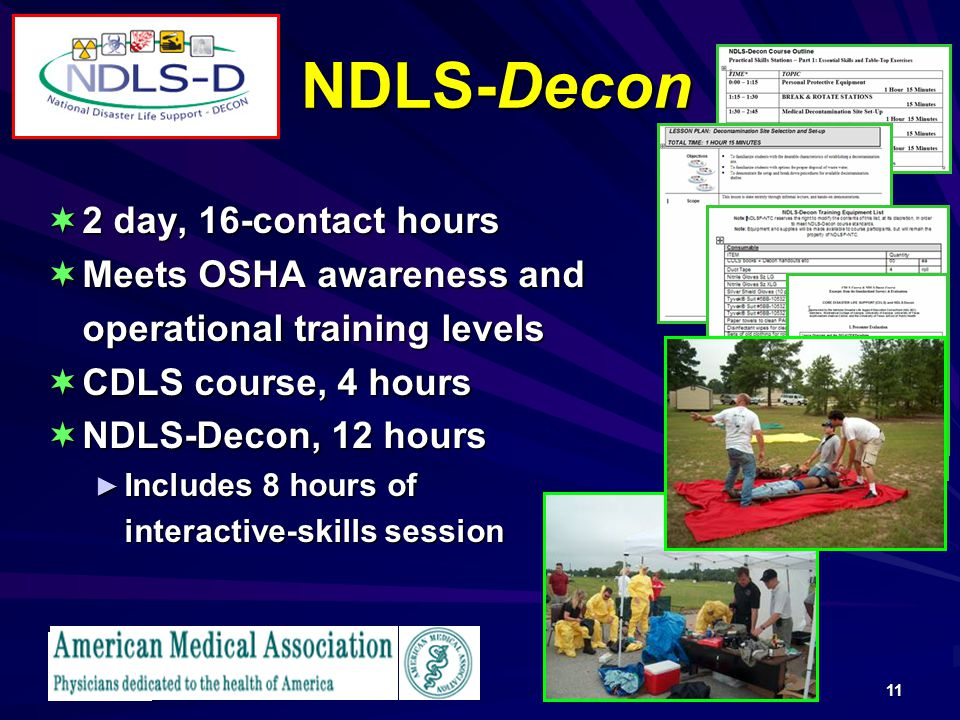 NDLS-Decon 2 day, 16-contact hours Meets OSHA awareness and