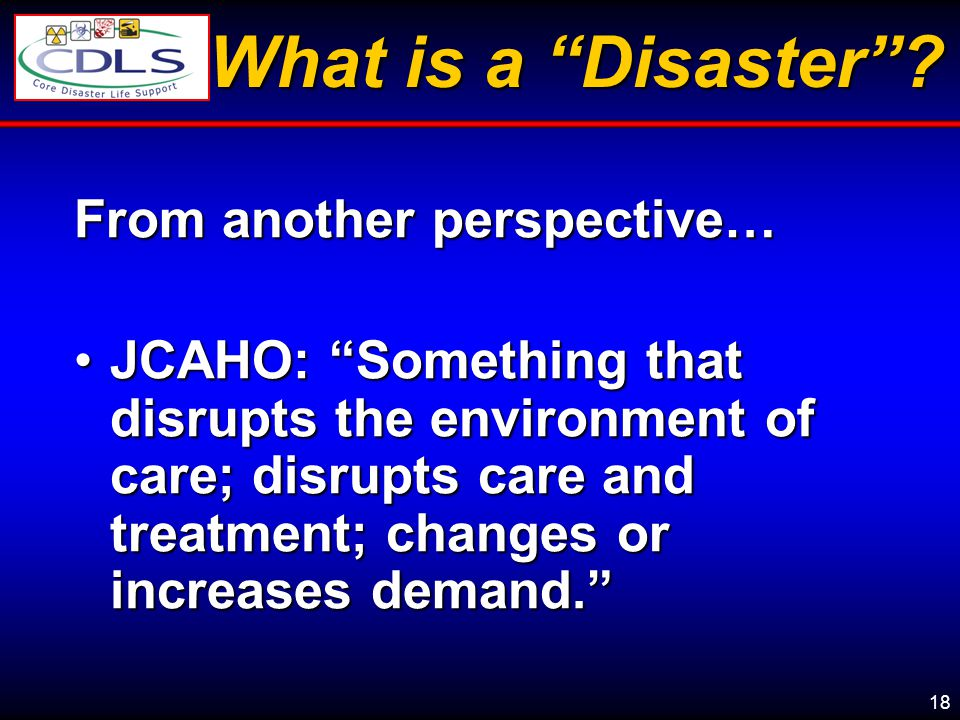 What is a Disaster From another perspective…