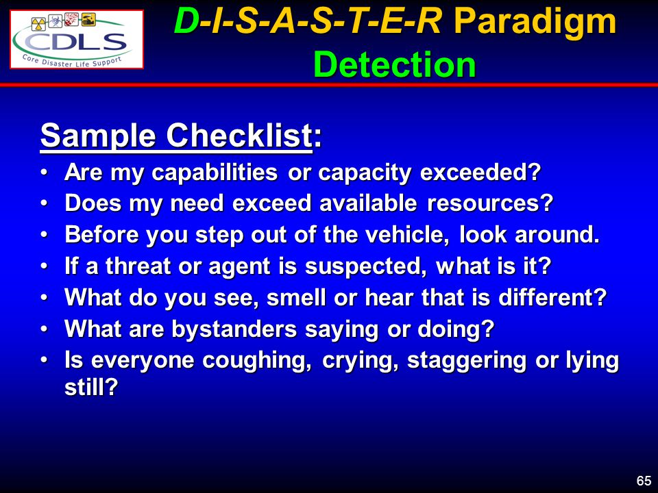 D-I-S-A-S-T-E-R Paradigm Detection