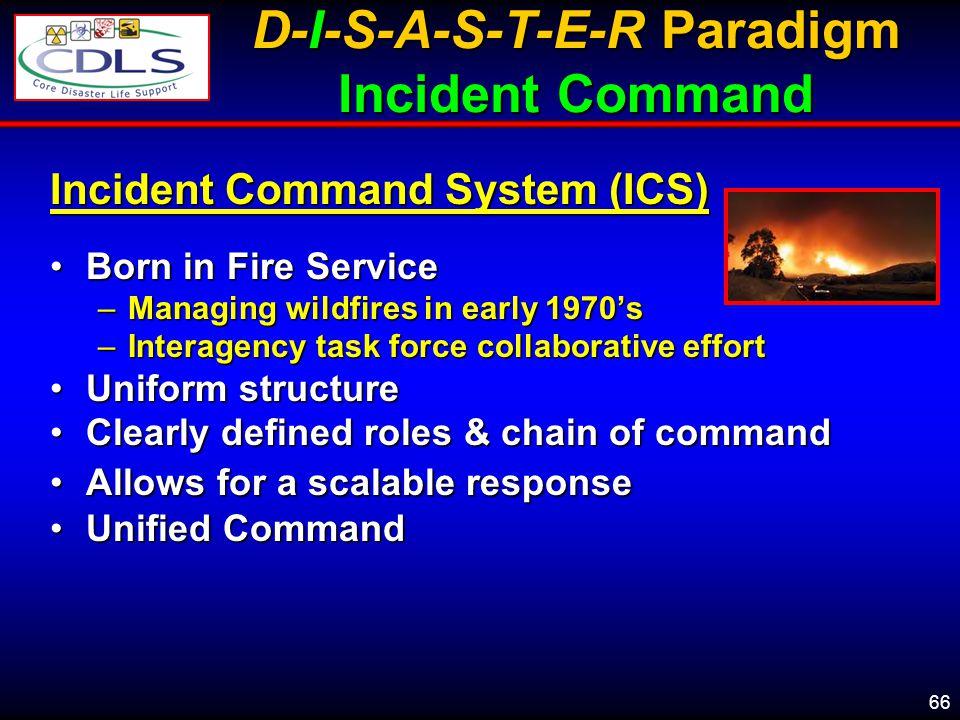 D-I-S-A-S-T-E-R Paradigm Incident Command