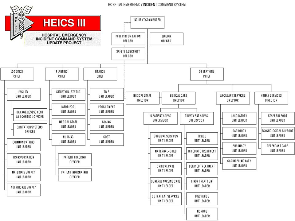 This is the HEICS system - the Hospital Emergency Incident Command System. This was developed in San Mateo County, California.