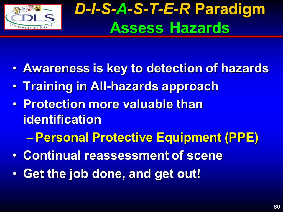 D-I-S-A-S-T-E-R Paradigm Assess Hazards