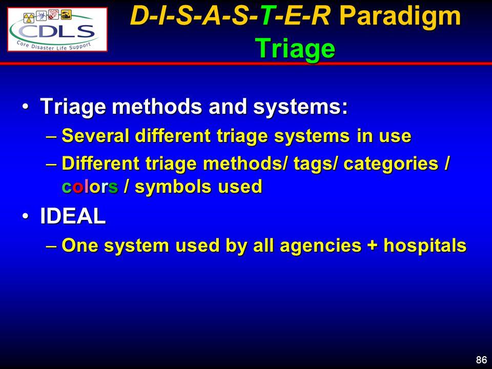 D-I-S-A-S-T-E-R Paradigm Triage